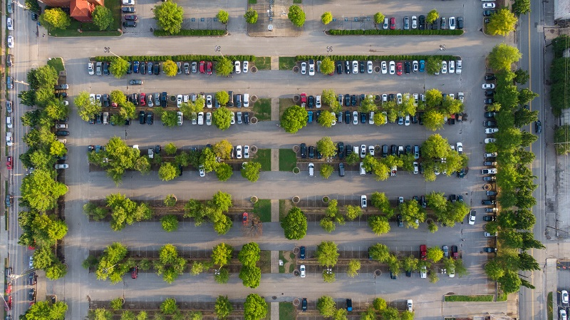 Places to Practice Driving in Corona Del Mar Overhead View of a Parking Lot with Trees and Cars